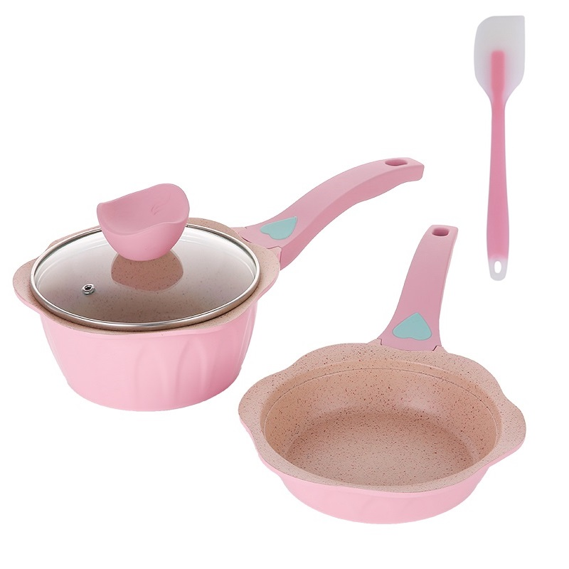 2019 Newest Baby Food Pot Flat Bottom Non-stick Frying Pan Medical Stone Small Milk Pot Stockpot Household Cooking Pan