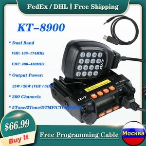 QYT KT-8900 Dual Band 25-Watt Mini Mobile Transceiver 136-174MHz/400-480MHz Portable Ham Radio (Free Cable)