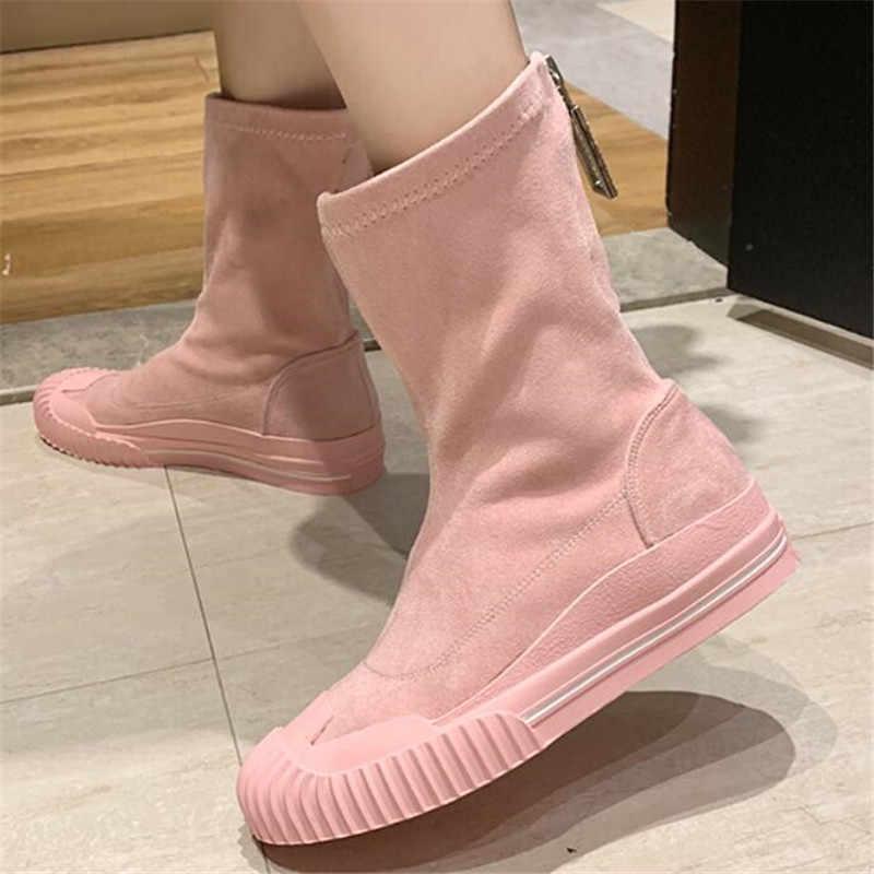 Kadın orta buzağı çizme 2019 sonbahar kış şeker renk elastik kumaş çizmeler kadın düz ayakkabı moda Zip kadın platformu çizme yeşil