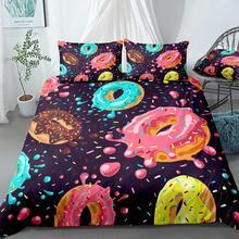 Donuts Duvet Cover Set Pink Chocolate Lemon Blue Mint Donuts Bedding Kids Boys Girls Food Quilt Cover Queen Bed Set Dropship