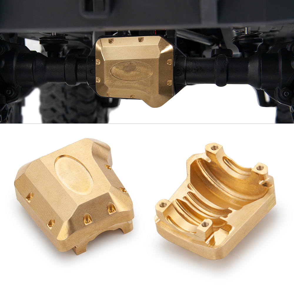 YEAHRUN 2pcs/set Brass Diff Cover For 1/10 Traxxas TRX 4 RC Cars Crawler Portal Axle Brass Counterweight Portal Drive Parts & Accessories     - title=
