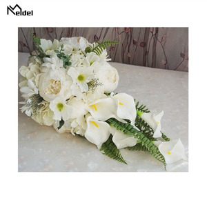 Image 3 - Meldel Bride Waterfall Wedding Bouquet Artificial Vintage Peony Hydrangea Flower Calla Lily Marriage Supplies Luxurious Bouquets