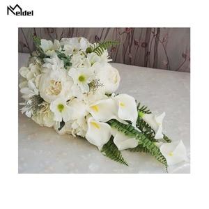 Image 3 - Meldel הכלה מפל חתונה זר מלאכותי בציר אדמונית הידראנגאה פרח כלה לילי אספקת נישואים לוקסוס זרי