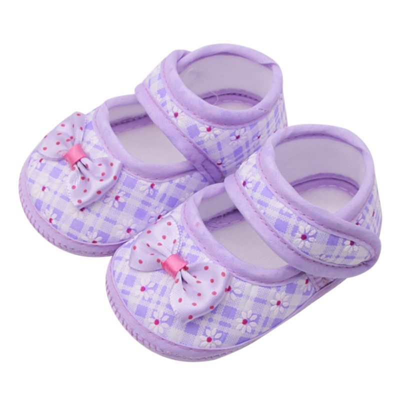 Baby Girl Shoes 2018 First Walker Bow Stitching Casual Shoes Wave Printing Princess Baby Toddler Shoes