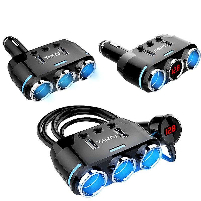 12V-24V Car Cigarette Lighter Socket Splitter Plug LED USB Charger Adapter 3.1A 100W Detection For Phone MP3 DVR Car Accessories