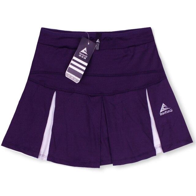 Спортивная теннисная юбка средней длины летняя быстросохнущая Дамская Сплит белая размера плюс тонкая фитнес Йога тонкая Беговая юбка - Цвет: Purple
