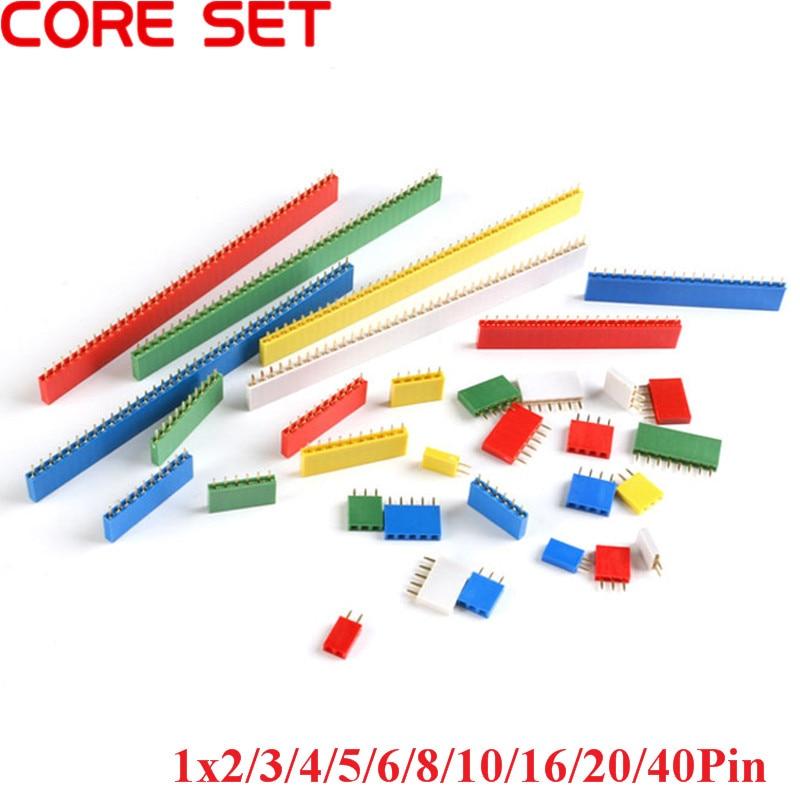 10Pcs 2.54mm Pitch Single Row Female PCB Female Pin Header Connector Straight Single Row 2/3/4/5/6/8/10/16/20/40Pin Socket Board