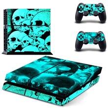Kafatası çıkartma kaplama için PS4 konsol kapak playstation 4 vinil cilt Controle çıkartmalar + 2 adet denetleyici koruyucu Gamepad Skins