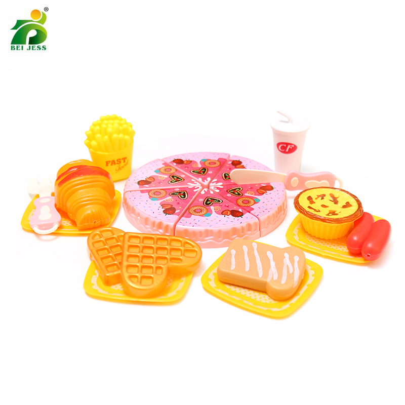 20Pcs Kids Kitchen Pizza Pretend Play Fake Food Plastic Fries Dishes Cutting Kitchens Toy Set Educational Toys For Childrens