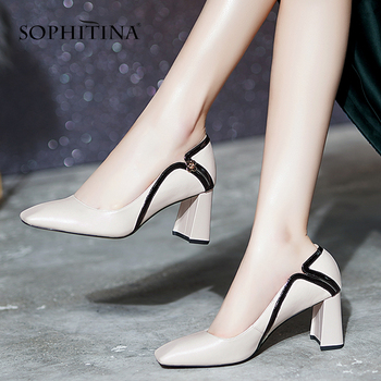 SOPHITINA Square Toe Pumps Women Classics Generous Zipper Concise Thick Heels Office Casual Cow Leather Shoes SO496