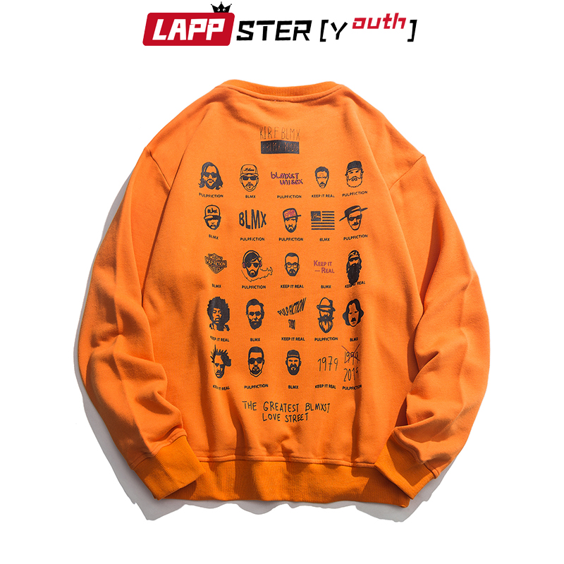 Lappster Men Streetwear Funny Print Hoodies 2019 Autumn Mens Vintage Hip Hop Sweatshirts Korean Fashions Oversized Black Hoodies