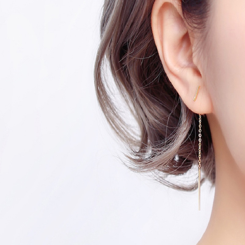 Real 925 Sterling Silver Chain Tassel Stud Earrings Fashion Women Fine Jewelry Party Minimalist Cute Accessories Gift A30