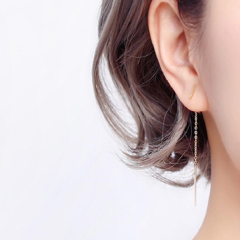 Real 925 Sterling Silver Chain Tassel Stud Earrings Fashion Women Fine Jewelry Party Minimalist Cute Accessories Gift A30