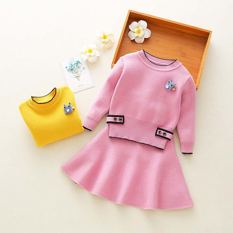 Autumn Baby Girl Knit Shirt Skirt Sweater Set Kids Winter Wear Clothes Outerwear