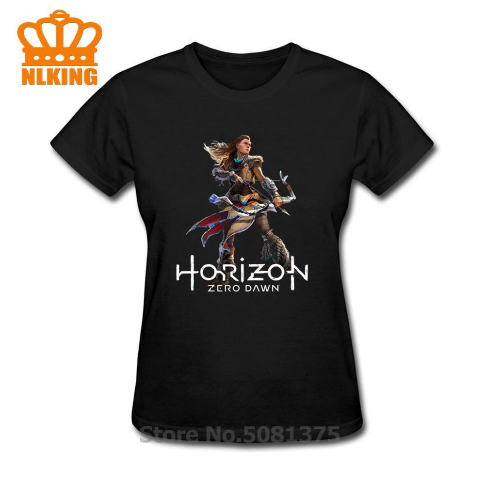 Horizon Zero Dawn T Shirt Women Funny 100% Cotton Black T-Shirt Loose Short-Sleeve New Female Tee Shirt Print Summer Tshirt 2019