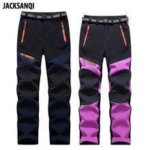 Jacksanqi das mulheres dos homens softshell caminhadas velo à prova de vento respirável calças grossas acampamento escalada roupas esportivas ra415