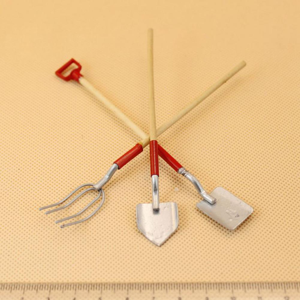 3pcs/set Mini Gardening Tools Shovel/Rake/Hoes Dollhouse Miniatures 1:12 Accessories Miniature Dollhouse Furniture Toy Ingbaby