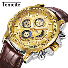 Temeite Golden Watch For Men Leather Strap Sport Wristwatches Luxury Man Waterproof Casual Watches Male Brand Reloj Hombre