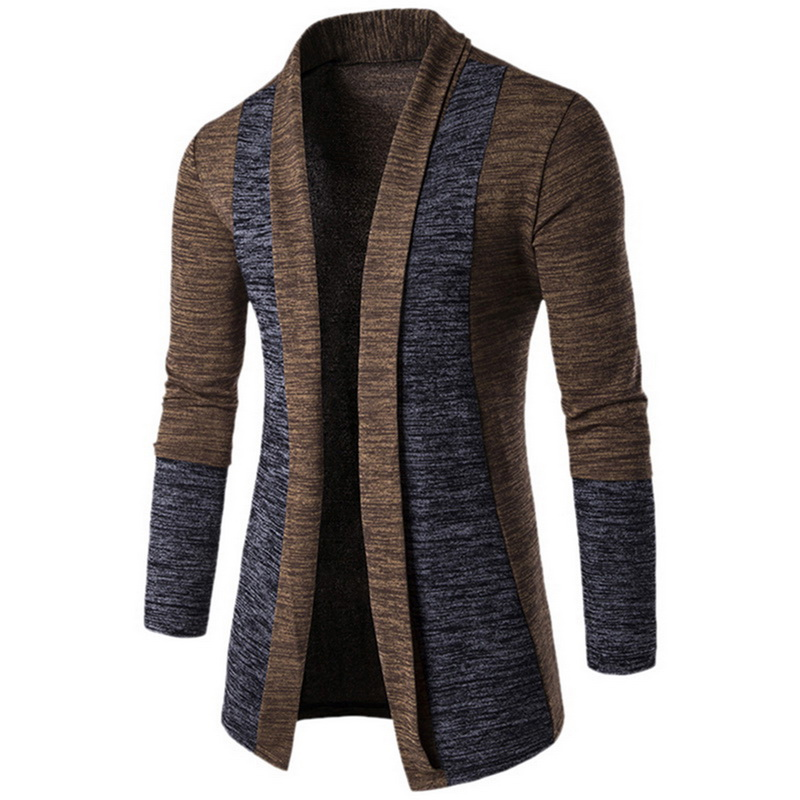 Men Fashion Patchwork Knitwear Sweaters Winter Cardigan Sweater Streetwear Casual Slim Knitted Cardigan Winter Sweater