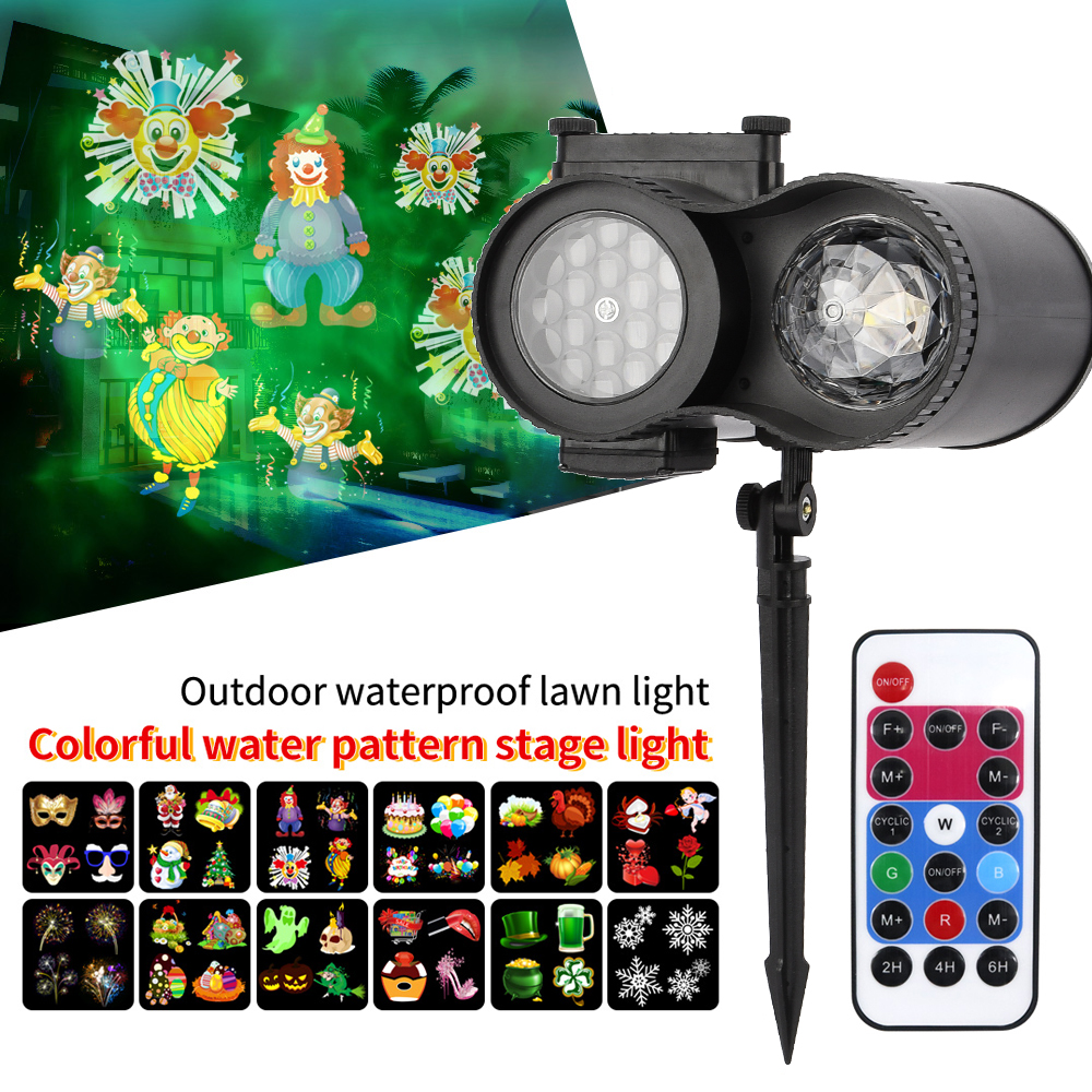 Led Christmas Lights Outdoor LED Laser Snowflake Projector 12 Film Cards Dj Disco Light New Year's Decor For Home Garden