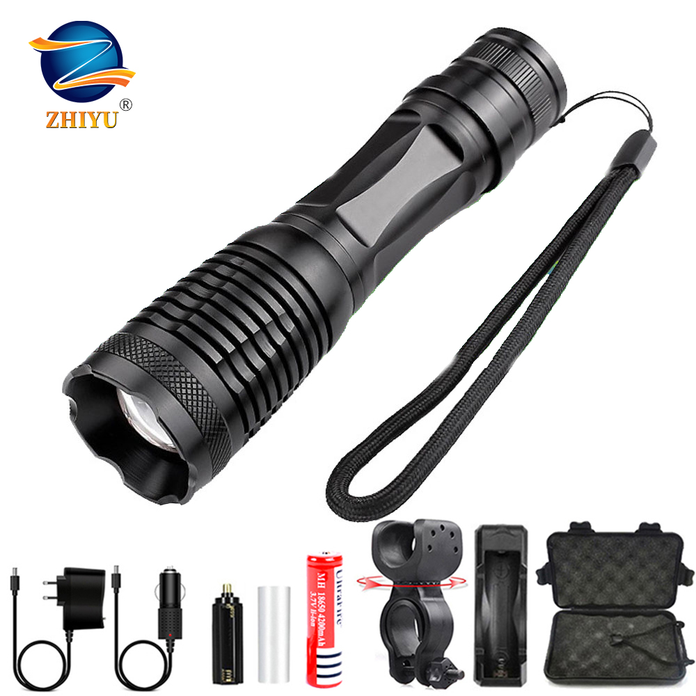 ZHIYU T6 LED Flashlight Ultra Bright Torch Led Torch T6 Zoomable Bicycle Light Use AAA 18650 Battery Waterproof Camping Light