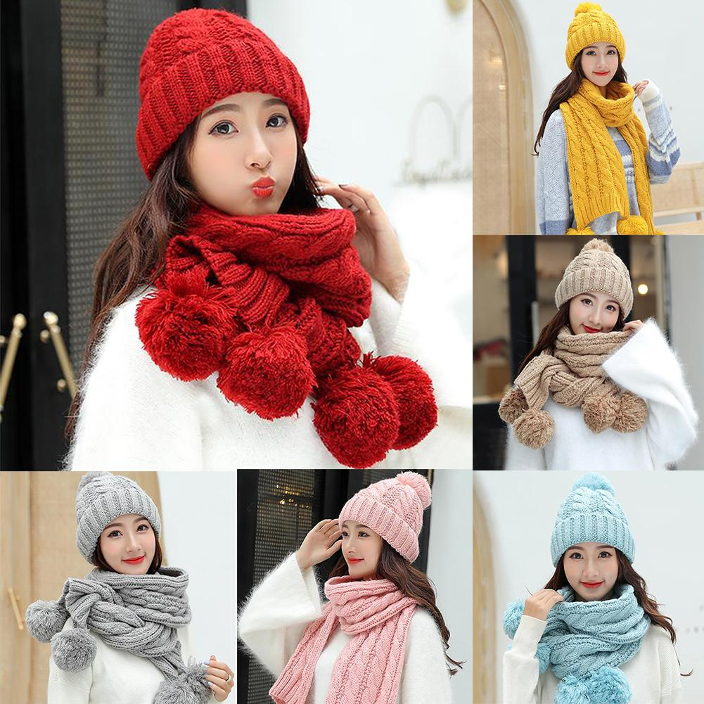 Winter Women Solid Color Pompom Warm Thick Knitted Hat Beanie Cap Scarf Set