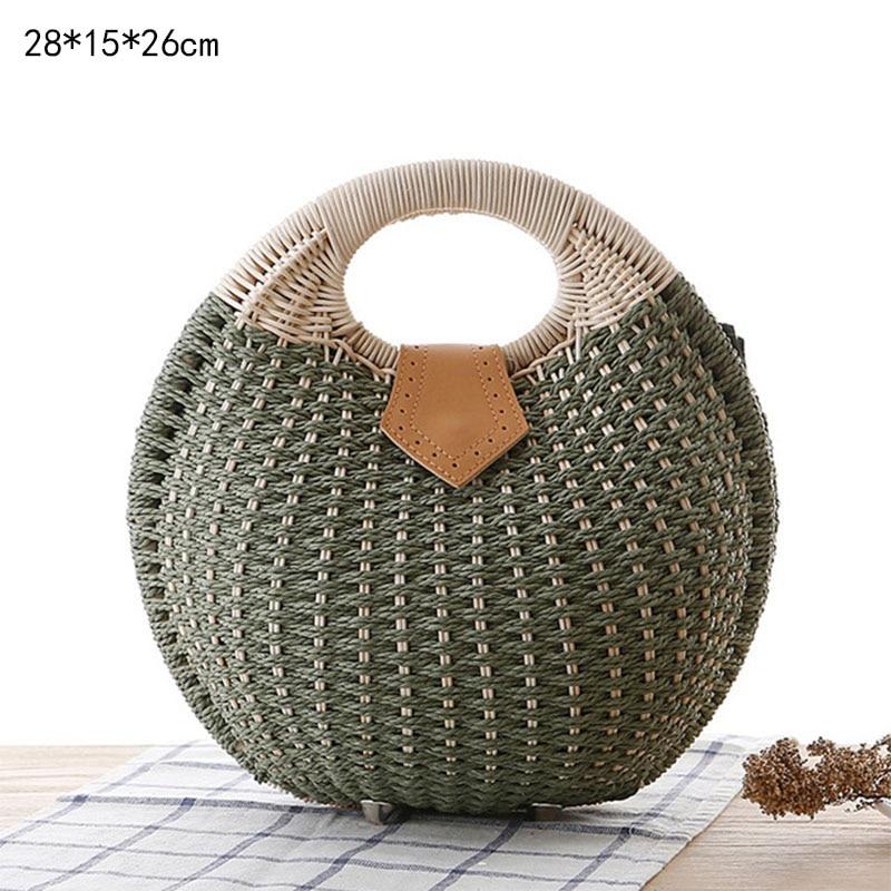 Saco de palha redonda tecido rattan saco