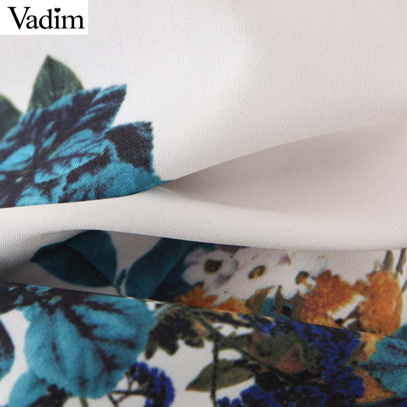 Vadim women stylish floral pattern white mini dress V neck half sleeve pockets female stylish chic dresses vestidos QC663