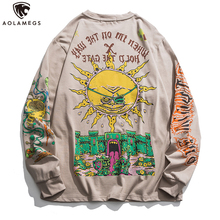 Aolamegs Hip Hop Sweatshirt Colorful Cartoon Demon Print Pullover Cotton Cozy Retro High Street Hipster Hoodie Streetwear Autumn