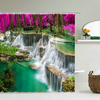Landscape Forest Waterfall Shower Curtain Waterproof Fabric 3D Print Natural Scenery Bathroom Curtain 240X180 Bath Curtains image