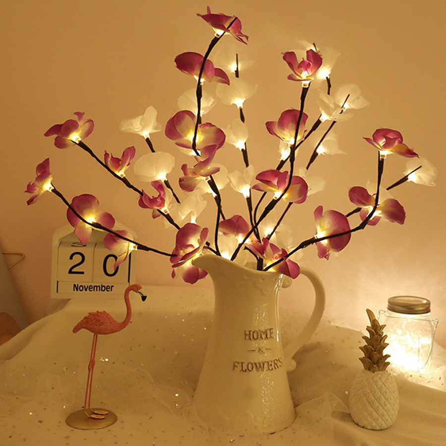 BEIAIDI 20 LED Battery Power Simulation Orchid Branch Light Vase Filler Flower Willow Branch Fairy Light Garland Home Decoration