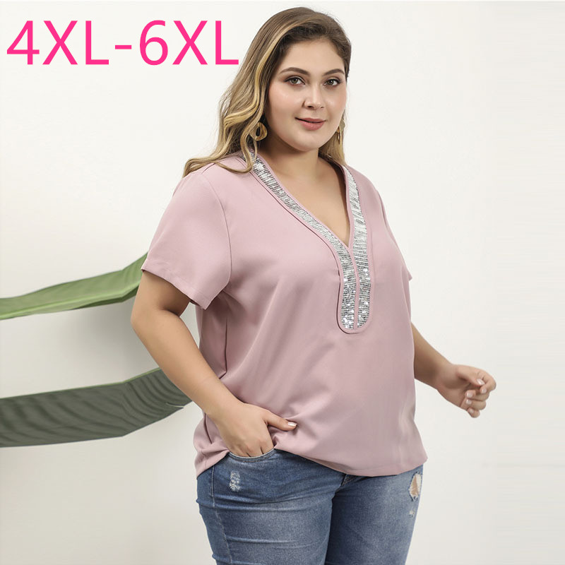 Female New Summer Plus Size Tops For Women Blouse Large Short Sleeve Casual Loose Sequins V Neck Shirt Pink 4XL 5XL 6XL 7XL