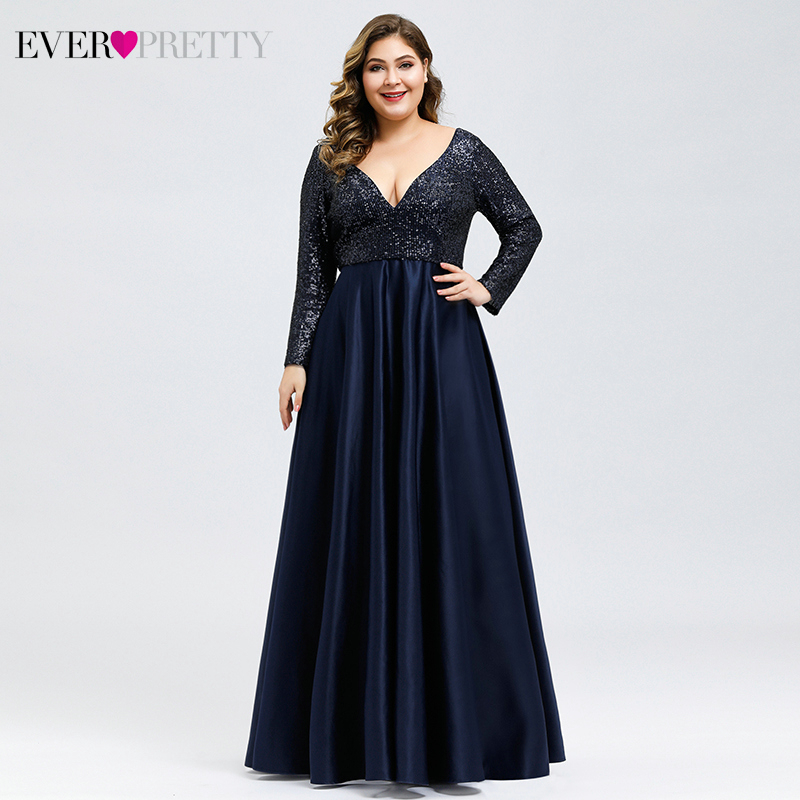 Plus Size Satin Evening Dresses Ever Pretty Sequined Deep V-Neck Long Sleeve Elegant Formal Dresses EP00817 Robe Soirée En Satin