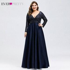 Image 1 - Plus Size Satin Evening Dresses Ever Pretty Sequined Deep V Neck Long Sleeve Elegant Formal Dresses EP00817 Robe Soirée En Satin