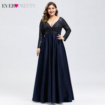 Plus Size Satin Evening Dresses Ever Pretty Sequined Deep V-Neck Long Sleeve Elegant Formal EP00817 Robe Soirée En - discount item  35% OFF Special Occasion Dresses