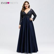 Plus tamanho cetim vestidos de noite sempre muito lantejoulas profundo decote em v manga comprida elegante vestidos formais ep00817 robe soirée en cetim