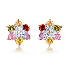 New 18 Color Series Ladies Earrings International Standard Environmental Protection Copper Inlaid AAA Zircon Jewelry