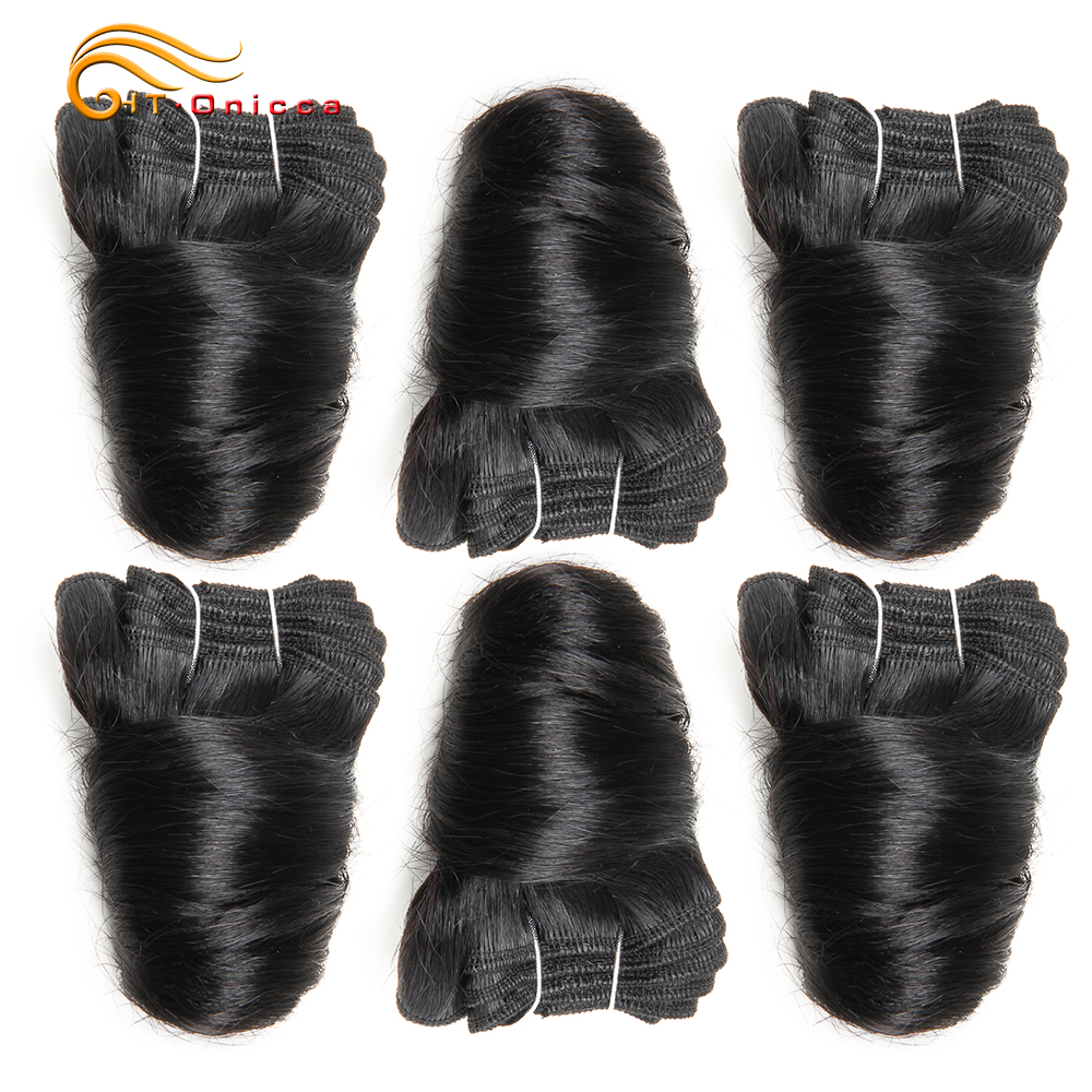 6 Pcs/Lot Funmi Hair Double Drawn   Bundles Romance Curl 8 Inch  Bundles  6
