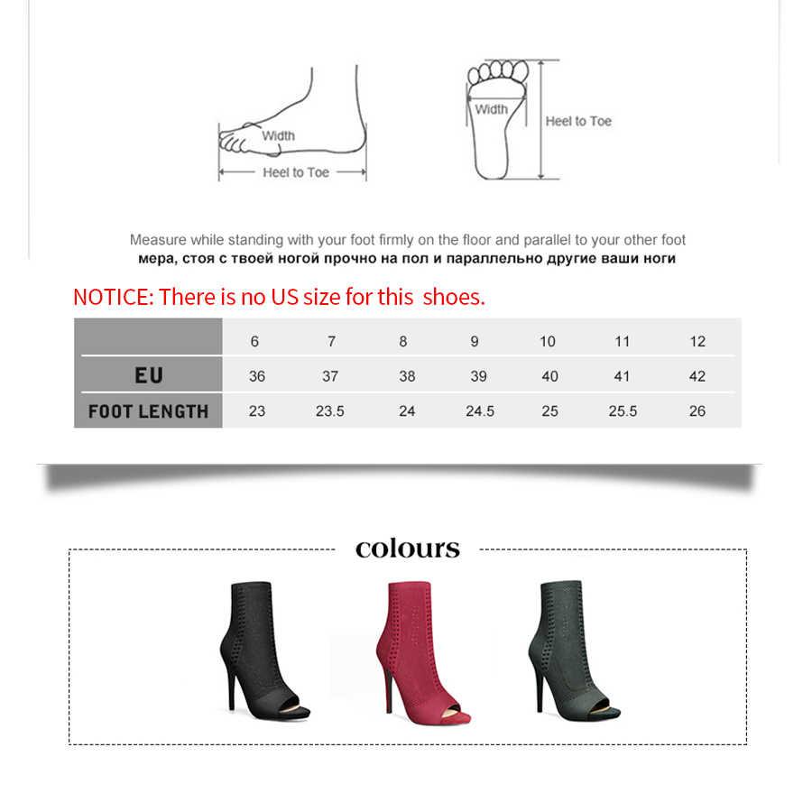 Perixir streç kumaş Peep Toe Hollow Out yarım orta buzağı çizmeler kadın ayakkabı için 12cm süper yüksek topuk çizmeler roma tarzı Botas Mujer