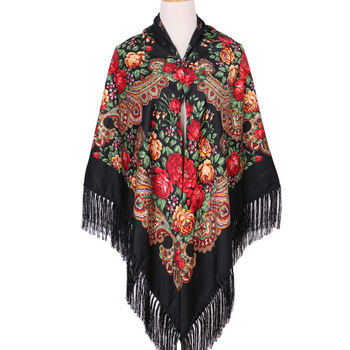 160*160cm Women Russian Scarf Square Blanket Shawl Ladies Fringed National Scarves Shawls Retro Floral Pattern Headscarf Wraps chic leopard pattern fringed edge voile scarf for women