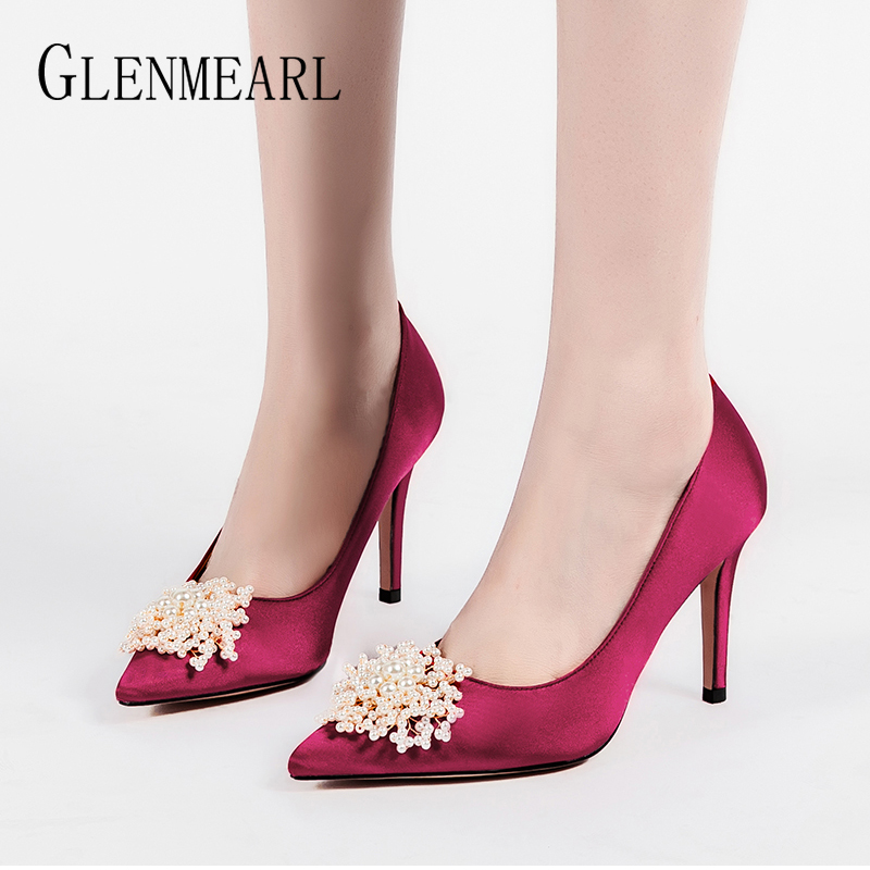 Women Pumps Wedding Shoes Female Sexy High Heels Pearl Silk Fashion Shoes Brand Wedding Pumps Comfortable 2020 New Arrival DE
