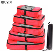 5 Pcs/set Nylon Packing Cubes Set Travel Bag Organizer Large Capacity Bags Hand Luggage Clothing Sorting Bolsa De Viaje