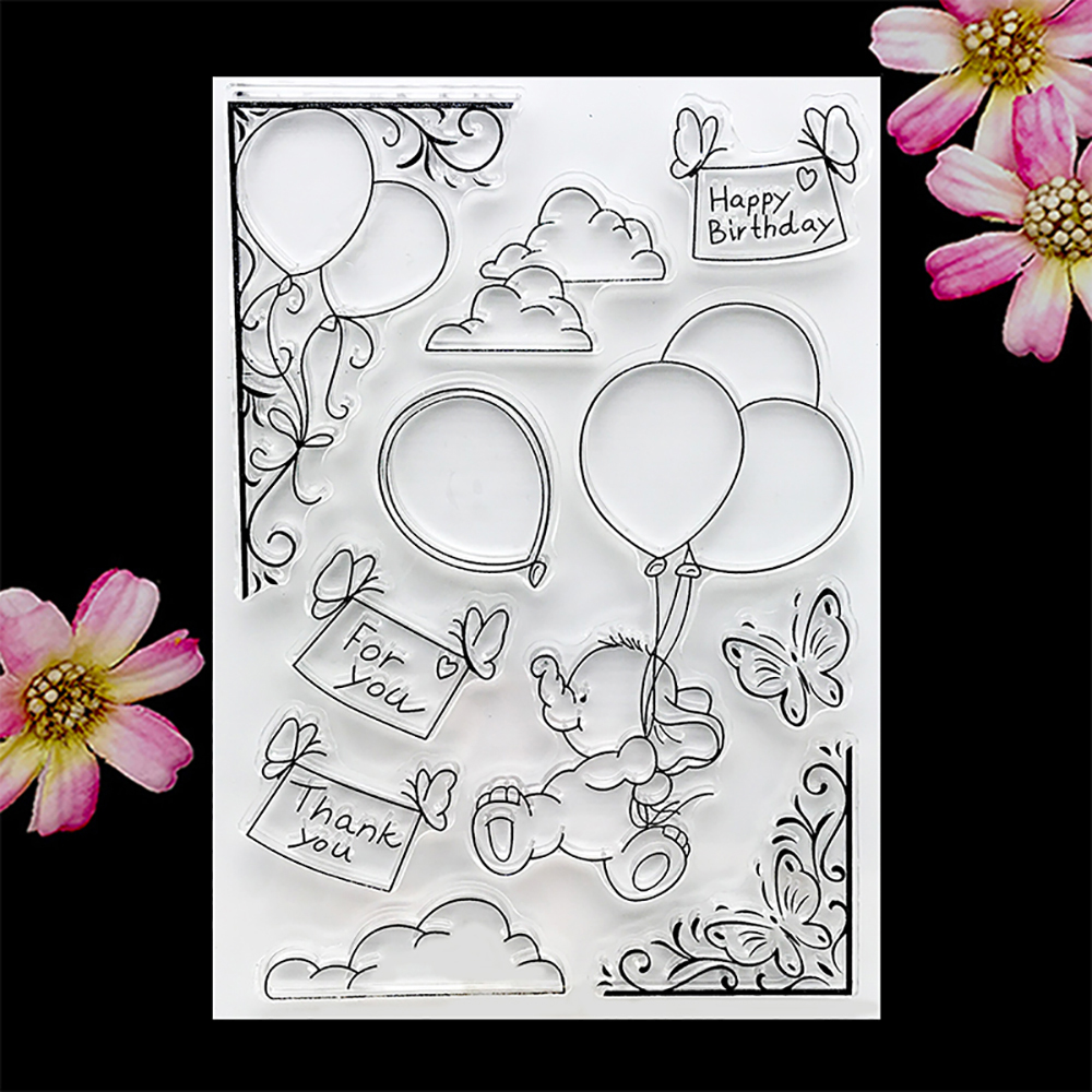 Balloon Elephant Clear Stamp Transparent Silicone Stamp Seal Sheet For Scrapbooking Photo Album Decoration