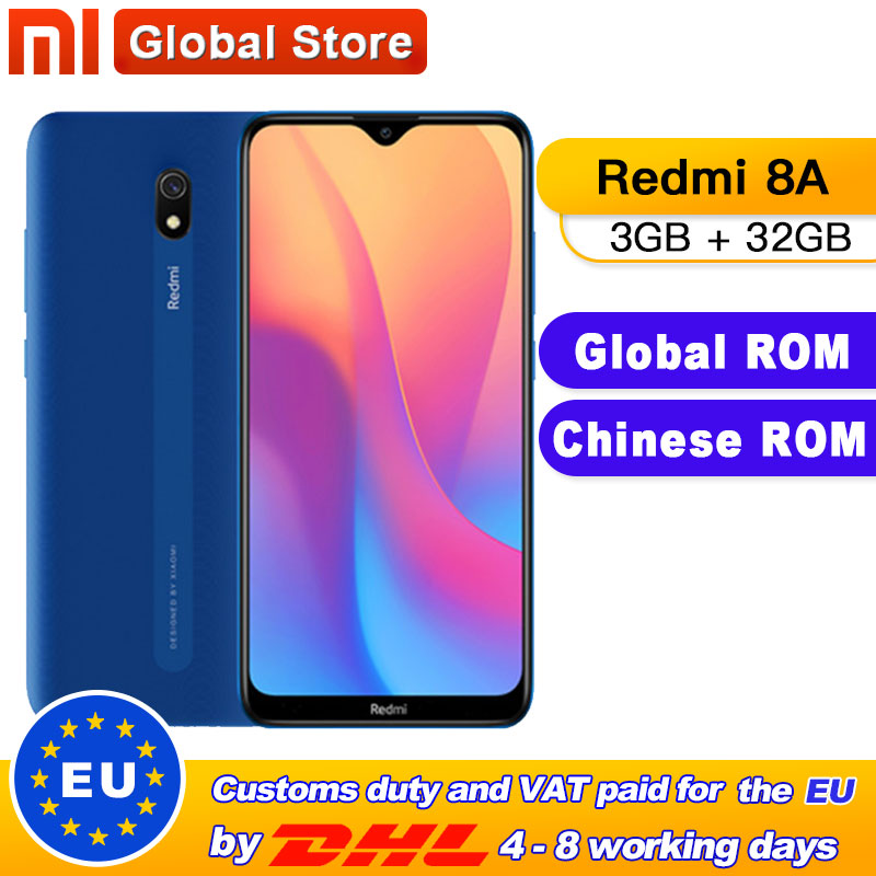 Global ROM Xiaomi Redmi 8A 3GB 32GB Smartphone Snapdargon 439 Octa Core 12MP AI Camera 5000mAh Type-C