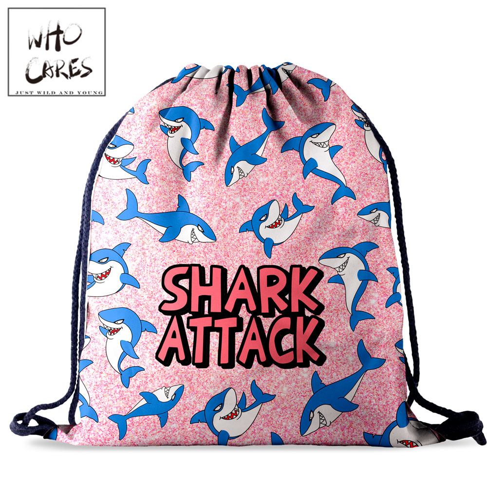 Who Cares Retro Anime Shark Drawstring Bag Backpack Women Travel Storage Waterproof Pack 3D Printing For Girl String Bags