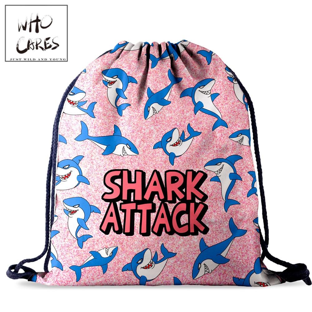 Who Cares Retro Anime Shark Drawstring Bag Backpack Women Travel Storage Waterproof Pack 3D Printing For Girl String Bags