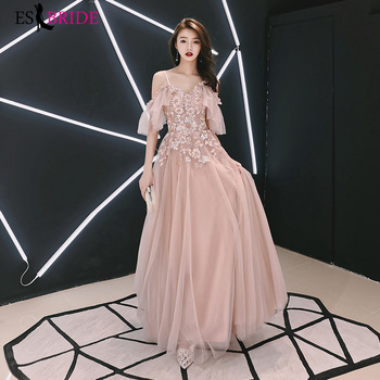 Elegant Evening Dresses Long ES1921-1 A-Line V-Neck Short Sleeve Appliques Embroidery Formal Evening Gowns Robe Femme Soiree