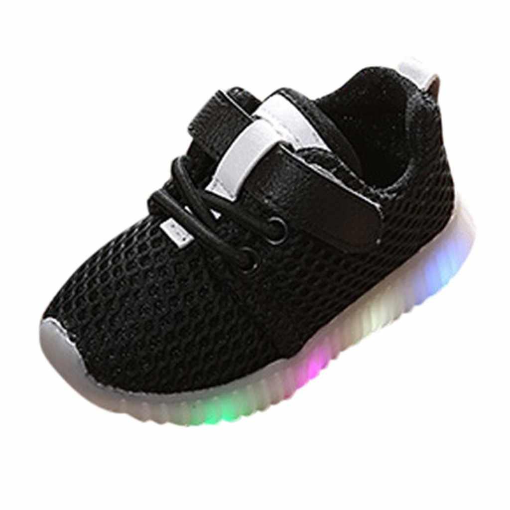 Led Licht Leucht Sport Lauf Turnschuhe Schuhe Kinder glowing turnschuhe Baby Mädchen Jungen Solide Mesh chaussure garcon enfant