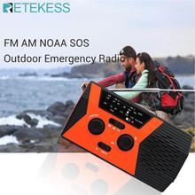 RETEKESS HR12W FM AM NOAA SOS przenośne Radio awaryjne wodoodporne oświetlenie LED korba ręczna Radio na baterie słoneczne odbiornik na kemping