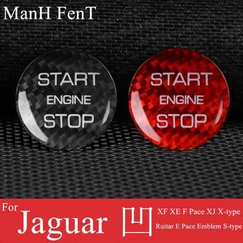 ManH FenT Real Carbon Fiber Car Engine Start Stop Button Cover Sticker For Jaguar XF XE F Pace XJ X-type Ruitar E Pace Emblem 1